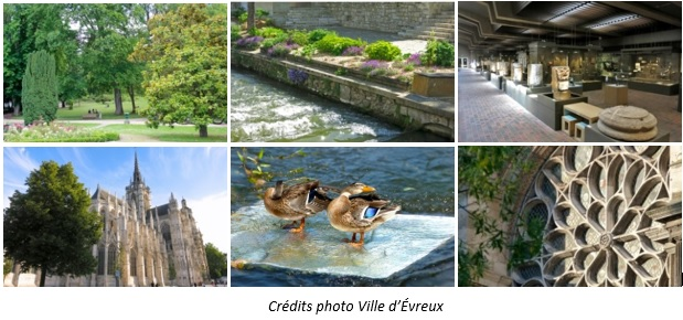 Evreux Cathedral, museum, river and gardens